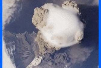Video of volcano eruption from the international space station