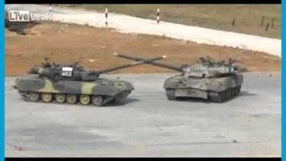 Tanks waltzing for the opening of the tank biathlon, held by the Russian military