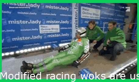 Modified racing woks are used to make timed runs down an Olympic bobsleigh track