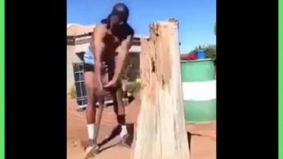 Chopping wood in Russia
