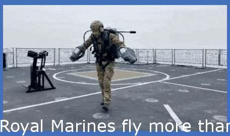 Royal Marines fly over sea in jet suits