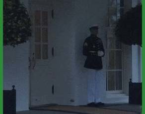 The US Military has rules about weather and lightning. This Sentry is following protocol after a lightning strike rather than abandoning his post out of fear